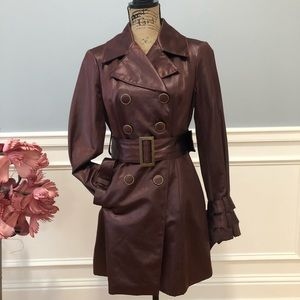 Bebe Double Coated Satin Pea Coat in Rust NWT